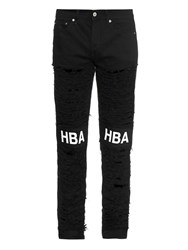Hood By Air Shredded Straight Leg Logo Patch Jeans