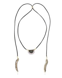 Nakamol Long Suede And Quartz Slice Lariat Choker Necklace Purple