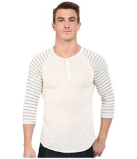 Alternative Apparel Printed 3 4 Raglan Henley Eco Wheat Eco Wheat Stitch Stripe Men's Long Sleeve Pullover White