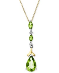 Macy's 14K Gold And Sterling Silver Necklace Peridot 1 5 8 Ct. T.W. And Diamond Accent Drop