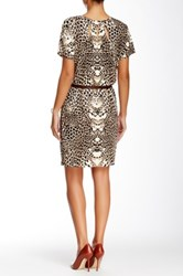Tart Avery Printed And Genuine Leather Belted Dress Brown