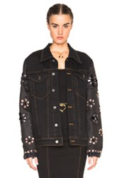 Alessandra Rich Denim Jacket With Embellished Sleeves In Black