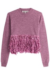 Mcq By Alexander Mcqueen Wool Pullover With Fringe Purple