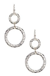 Simon Sebbag Sterling Silver Hammered Double Ring Earrings Metallic