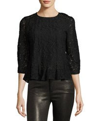 Dance And Marvel Lace Overlay Peplum Top Black
