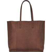 Zagliani Python And Leather Reversible Tote Brown