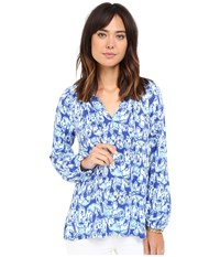 Lilly Pulitzer Willa Top Bomber Blue Get Trunky Women's Clothing