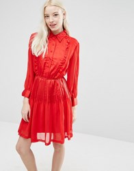 Sister Jane Karina Dress With Pleated Skirt Red