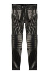 Balmain Leather Biker Pants Black