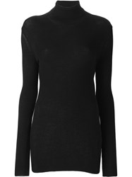 Ann Demeulemeester Rib Knit Turtle Neck Black