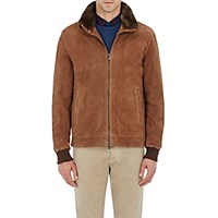 Isaia Men's Fur Lined Waterproof Suede Jacket Brown