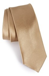 The Tie Bar Men's Solid Silk Skinny Light Champagne