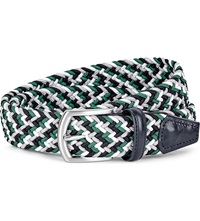 Andersons Woven Elastic And Leather Belt Green Multi