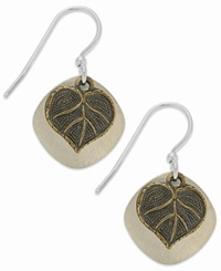 Jody Coyote Silver Plated Earrings Hammered Disc And Leaf Drop Earrings