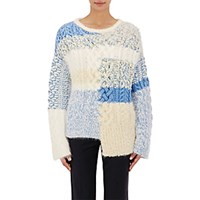 Tomorrowland Women's Cable Knit And Boucle Sweater Blue