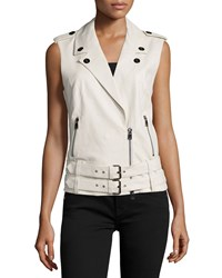 Haute Hippie Double Belted Leather Moto Vest Swan