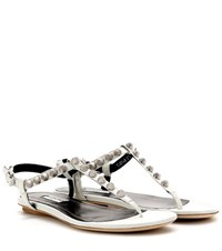 Balenciaga Giant Studded Textured Leather Sandals White