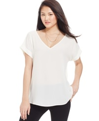 Hippie Rose Juniors' Loose Fit V Neck Tee Ivory