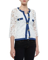 Michael Simon 3 4 Sleeve Crochet Cardigan W Denim Trim Petite Ivory