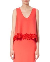 Carolina Herrera Applique Embellished Virgin Wool Shell Red