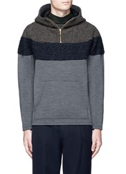 Kolor Boucle Yoke Half Zip Hoodie Grey