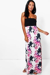 Boohoo Floral Bandeau Maxi Dress Multi