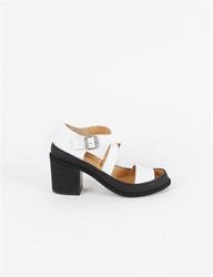 Mm6 Canvas Rubber Crossover Sandal Black White
