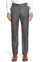 Men's Big And Tall Monte Rosso Flat Front Plaid Wool Trousers Grey Heather