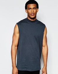 Asos Oversized Sleeveless T Shirt With Turtle Neck Washed Black