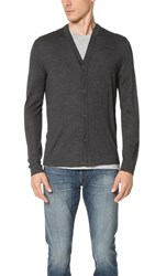 Theory Tricio Admiral Cardigan Sweater Charcoal