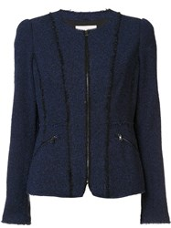 Rebecca Taylor Zipped Pockets Fitted Jacket Blue