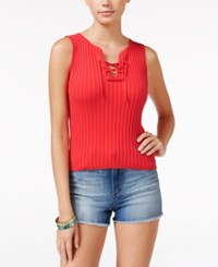 American Rag Lace Front Rib Knit Tank Top Only At Macy's Hot Coral