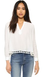 Derek Lam Pintuck Top With Tassels Soft White