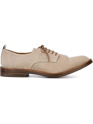 Buttero Weave Effect Textured Lace Up Shoes Nude And Neutrals