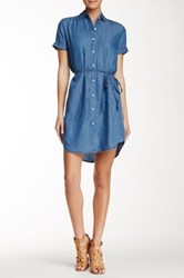 Allen B. By Allen Schwartz Alex Short Sleeve Chambray Shirt Dress Blue