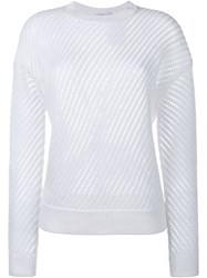 Vince Mesh Stitched Long Sleeve Sweater White