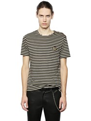 The Kooples Shoulder Buttons Striped Jersey T Shirt