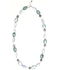 Viyella Green Oval Shell And Pearl Necklace