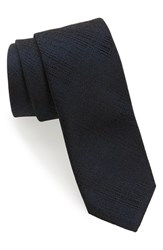 Boss Men's Solid Silk Skinny Tie Navy
