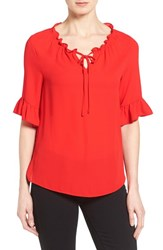 Women's Cece By Cynthia Steffe Ruffle Trim Tie Neck Blouse Flame