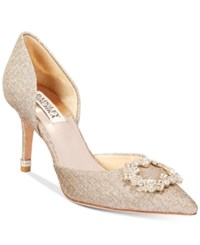 Badgley Mischka Nidia D'orsay Pointed Toe Evening Pumps Women's Shoes Champagne