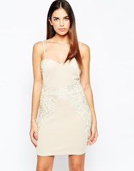 Girl In Mind Bodycon Dress With Crochet Insert Beige