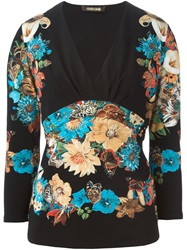 Roberto Cavalli Floral Print V Neck Long Sleeve T Shirt Black