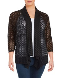 Nipon Boutique Plus Open Work Shawl Cardigan Black