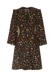 Alexander Mcqueen Obsession Print Cape Sleeved Crepe Dress Black Multi