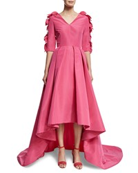 Christian Siriano 3 4 Sleeve High Low Gown W Petals Passion Pink