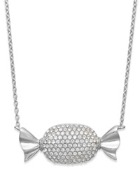 Sis By Simone I Smith Platinum Over Sterling Silver Crystal Candy Pendant Necklace