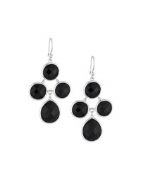 Elizabeth Showers Audrey Black Onyx Chandelier Earrings Silver