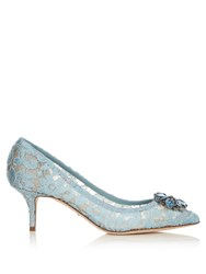 Dolce And Gabbana Crystal Embellished Lace Pumps Light Blue