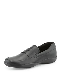 Prada Leather Penny Loafer With Rubber Sole Black